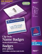 Avery<sup>&reg;</sup> Badges avec pinces pour imprimantes à laser ou jet d'encre 78617