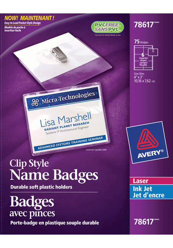 Avery<sup>&reg;</sup> Garment Friendly Clip Style Name Badge Kit - Avery<sup>&reg;</sup> Garment Friendly Clip Style Name Badge Kit