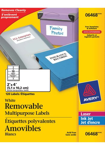 Avery White Multipurpose Labels Removable, 06468 , 2in. x 4in., Rectangle