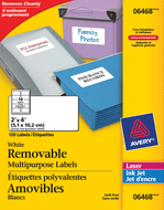 Avery<sup>&reg;</sup> White Multipurpose Labels Removable 6468