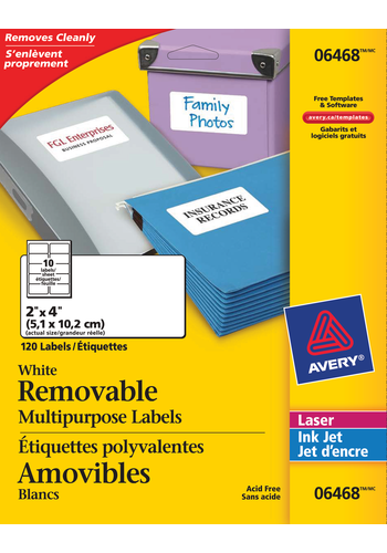 Avery<sup>®</sup> White Multipurpose Labels Removable - Avery<sup>®</sup> White Multipurpose Labels  Removable