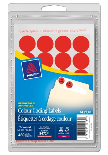 Avery® 14213 - Removable Colour Coding Labels ,  3/4in., Round, Neon Red