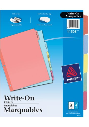 Avery® 11508 - Plain Tab Write On Dividers,  8-1/2in. x 11in., Multi-colour