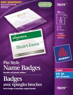 Avery<sup>&reg;</sup> Badges avec épingles pour imprimantes à laser ou jet d'encre 78619