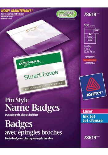 Avery<sup>®</sup> Pin Style Name Badge Kit - Avery<sup>®</sup> Pin Style Name Badge Kit