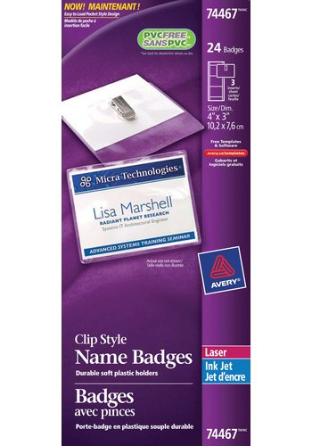 Avery® 74467 - Badges ,  4in. x 3in., Transparent