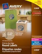 Avery<sup>&reg;</sup> Étiquettes rondes imprimables jusqu'au bord pour imprimantes à laser ou jet d'encre 22808