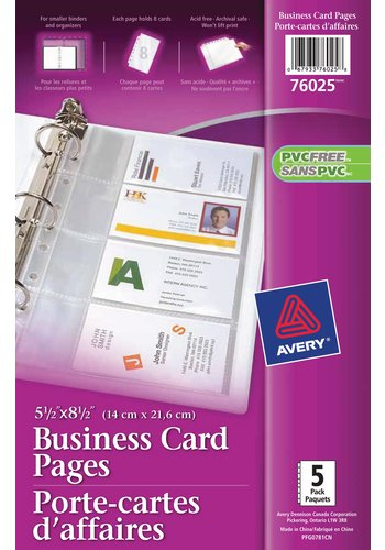 Avery® 76025 - Minipages porte-cartes d'affaires ,  5-1/2in. x 8-1/2in. , Transparent