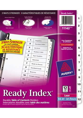 Avery® 11140 - Ready Index® Table of Content Dividers ,  8-1/2in. x 11in., Black & White