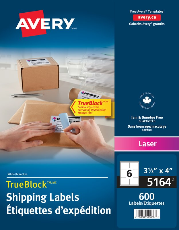 Avery 05164 Shipping Labels 3 13 X 4 Rectangle White