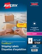 Avery<sup>&reg;</sup> Étiquettes d'expédition avec Technologie TrueBlock<sup>MC</sup> pour imprimantes à laser 5164