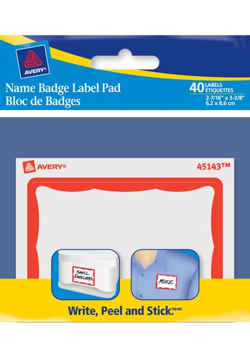 Avery® 45143 - Name Badge Label Pad,  2-7/16in. x 3-3/8in., Rectangle, Red Border