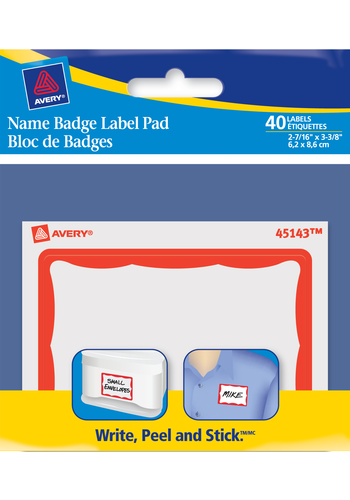 Avery<sup>&reg;</sup> Name Badge Label Pad - Avery<sup>&reg;</sup> Name Badge Label Pad