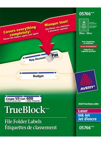 Avery® 05766 - Étiquettes de classement ,  2/3in. x 3-7/16in., Rectangulaire, Bleu