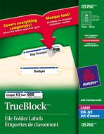 Avery<sup>&reg;</sup> Étiquettes de classement avec Technologie TrueBlock<sup>MC</sup> pour imprimantes à laser ou jet d'encre 5766