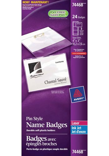Avery® 74468 - Badges ,  4in. x 3in., Transparent