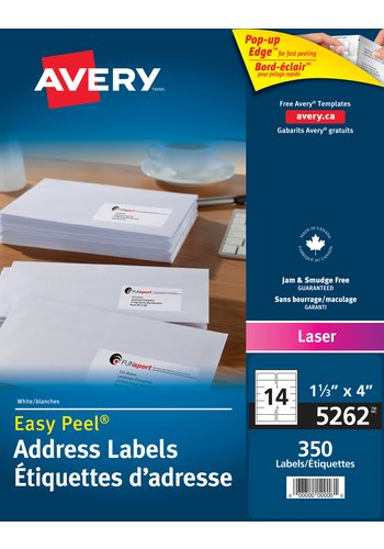 Avery® 5262 - Address Labels ,  1-1/3in. x 4in., Rectangle, White