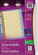 Avery<sup>&reg;</sup> Intercalaires Insérables pour imprimantes à laser ou jet d'encre 11102