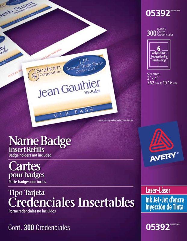 Avery 05392 Name Badge Inserts 3 X 4 White