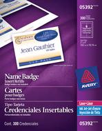Avery<sup>&reg;</sup> Cartes pour badges pour imprimantes à laser ou jet d'encre 5392