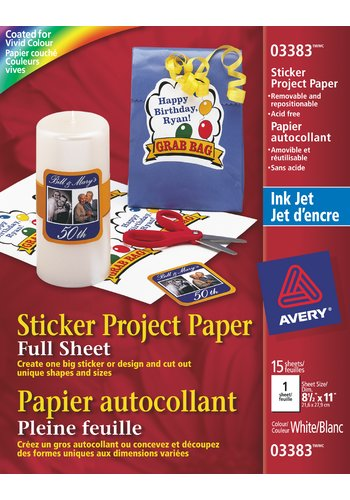 Avery® 03383 - Sticker Project Paper ,  8-1/2in. x 11in., White