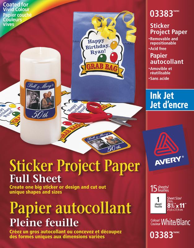 Avery 03383 Papier Autocollant 8 1 2 X 11 Blanc