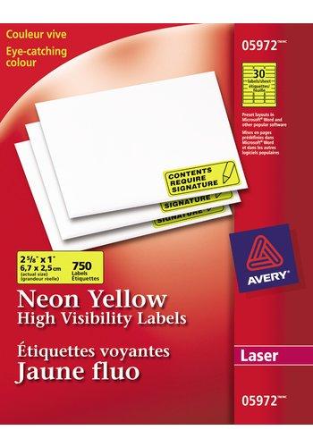 Avery® 05972 - Étiquettes Voyantes ,  2-5/8in. x 1in., Rectangulaire, Néon jaune