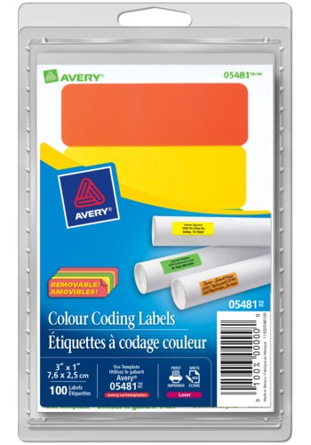 Avery® 05481 - Removable Rectangular Colour Coding Labels ,  1in. x 3in., Rectangle, Assorted (Green, Orange, Red, Yellow)