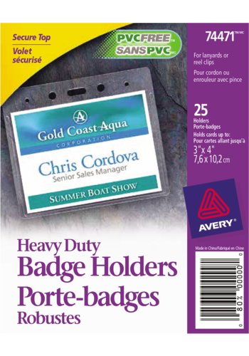Avery® 74471 - Porte-Badges Format Horizontal,  3in. x 4in., Transparent
