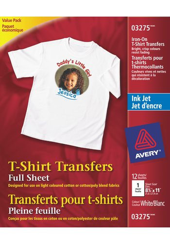 Avery® 03275 - T-Shirt Transfers ,  8-1/2in. x 11in., White