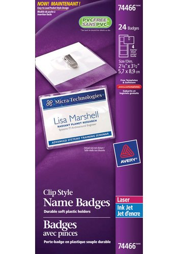 Avery Garment Friendly Clip Style Name Badge Kit,74466, 2-1/4in. x 3-1/2in.