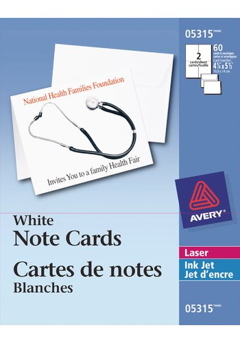 Avery® 05315 - Cartes de notes ,  4-1/4in. x 5-1/2in., Blanc