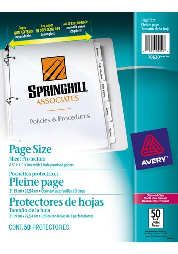 Avery® 78630 - Page Size Sheet Protectors,  8-1/2in. x 11in., Diamond Clear