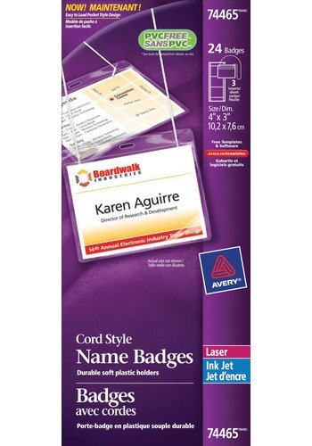 Avery® 74465 - Hanging Name Badge kit ,  4in. x 3in., Clear