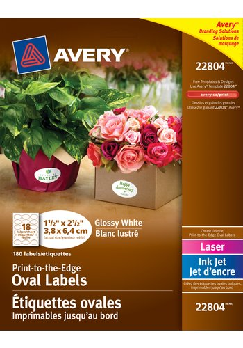 Avery® 22804 - Étiquettes ovales imprimables jusqu'au bord ,  1-1/2in. x 2-1/2in., Ovale, Blanc brillant