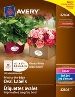 Avery<sup>&reg;</sup> Étiquettes ovales imprimables jusqu'au bord pour imprimantes à laser ou jet d'encre 22804