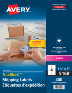 Avery<sup>&reg;</sup> Shipping Labels with TrueBlock&trade; Technology 5168