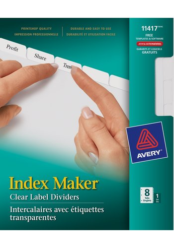 Avery® 11417 - Index Maker® Clear Label Dividers ,  8-1/2in. x 11in., White