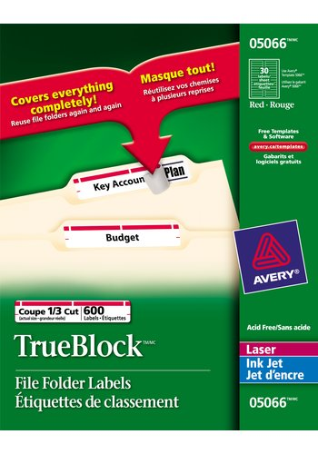 Avery® 05066 - Filing Labels ,  3-7/16in. x 2/3in., Rectangle, Red