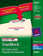 Avery<sup>&reg;</sup> Étiquettes de classement avec Technologie TrueBlock<sup>MC</sup> pour imprimantes à laser ou jet d'encre 5066