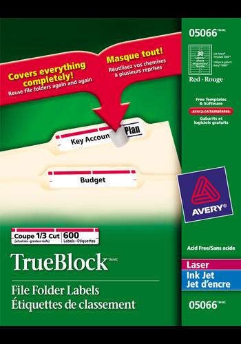 Avery<sup>&reg;</sup> Étiquettes de classement avec Technologie TrueBlock<sup>MC</sup> pour imprimantes à laser ou jet d'encre - Avery<sup>&reg;</sup> Étiquettes de classement