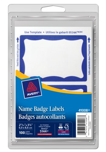 Avery® 41008 - Étiquettes badges autocollants ,  2-11/12in. x 3-3/8in., Rectangulaire, Bleu Bordure