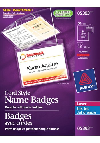 Avery® 05393 - Badges ,  3in. x 4in., Transparent
