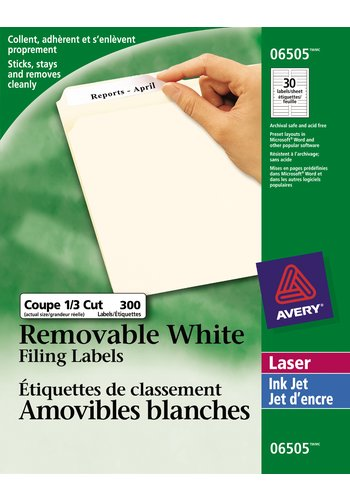 Avery® 06505 - Removable Filing Labels ,  3-7/16in. x 2/3in., Rectangle, White