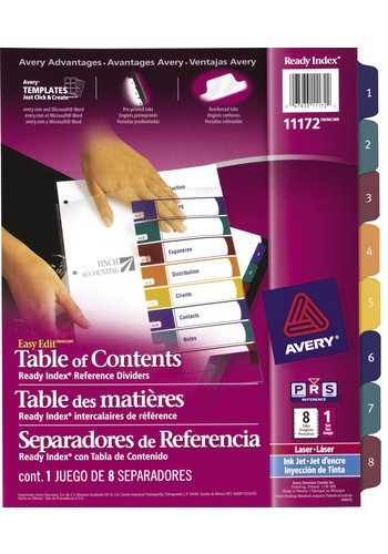 Avery® 11172 - Ready Index Intercalaires ,  8-1/2in. x 11in., Multi-couleur