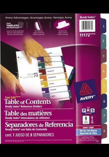 Avery<sup>&reg;</sup> Ready Index Intercalaires avec Table des Matières Easy Edit pour imprimantes à laser ou jet d'encre - Avery<sup>&reg;</sup> Ready Index Intercalaires