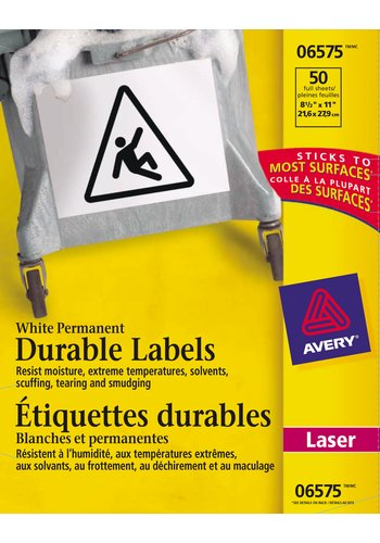 Avery® 06575 - Étiquettes d'identification durables ,  8-1/2in. x 11in., Rectangulaire, Blanc