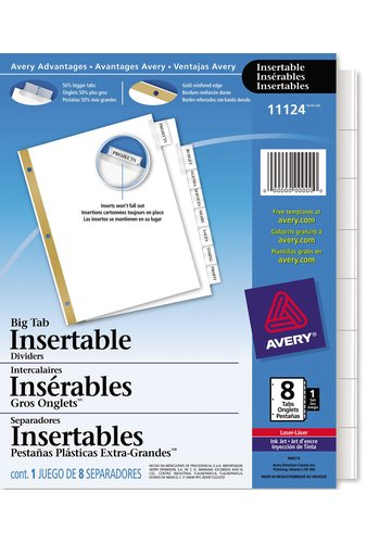 Avery® 11124 - Big Tab™ Insertable Dividers ,  8-1/2in. x 11in., Clear