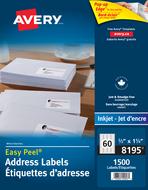 Avery<sup>&reg;</sup> Étiquettes d'adresse avec Easy Peel<sup>&reg;</sup> pour imprimantes à jet d'encre 8195