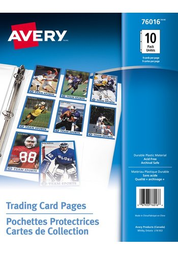 Avery® 76016 - Trading Card Pages,  8-1/2in. x 11in., Clear